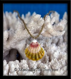 """Country Style"" Multi Colored Hawaiian Sunrise Shell and Puka Shell Twisted Cord Necklace. ""Country Style"" multi colored pink, yellow / green and white Hawaiian Sunrise Shell with a shiny white North Shore Puka Shell on top! This very colorful Sunrise Shell pendant drapes on a natural colored twisted waxed cord 22 inch necklace that can very easily be shortened to any length you like, with Puka Shell and loop closure. Generously sized at 1 1/8 inch of pure North Shore Country Aloha! Nothing says North Shore more than Sunrise Shells and Puka Shells!  And don't be afraid to wear this jewelry in the ocean, Sunrise & Puka Shells love the surf! An original MonicaByTheShore Sunrise Shell design, simple, natural beach seashell jewelry from Oahu, Hawaii. Hand crafted with Aloha, one piece at a time, in Haleiwa, Hawaii."