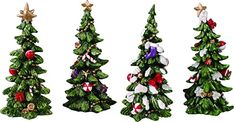 Amazon.com: Transpac Imports Resin Holiday Tree Set of 4 Figurine, Green: Kitchen & Dining