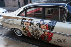 Sailor Jerry - a little rum anyone? Vintage Cars, Antique Cars, Chevy, Chevrolet, Sailor Jerry, Psychobilly, Kustom, Big Trucks, Custom Paint