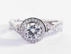 Monique Lhuillier Twist Halo Engagement Ring | Blue Nile