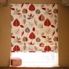 Retro Leaves Red Roman Blind