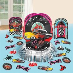 1950s Mens Classic Rock and Roll Party Decorations Centrepiece Decorating Kit