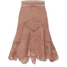Jasper Fan Skirt (1 735 PLN) ❤ liked on Polyvore featuring skirts, eyelet skirt, flounce skirt, embroidered skirt, beige skirt and hi low skirt
