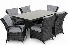 San Diego Rattan Garden Furniture Houston Grey 6 Seater Rectangle Table Set