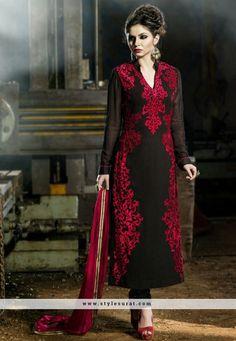 Splendid Embroidery Work Black Straight Long Salwar Suit