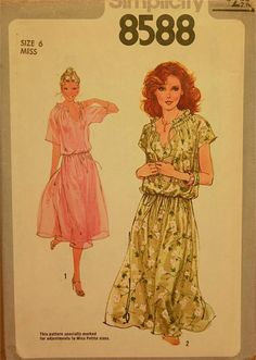 """Peasant Dress - 1970's - Simplicity Pattern 8588    Size 6  Bust 30.5"""""""