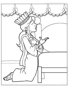 Esther and Mordecai with King's Edict coloring page from