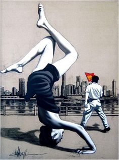 Paintings Fine Art Zhong Biao Happiness From LuxuryCity. Chinese Contemporary Art, Contemporary Paintings, Modern Art, Henry Miller, Asian Sculptures, Art Asiatique, China Art, Pr China, Bd Comics