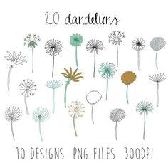 dandelions clipart : flower clipart / doodle clipart / hand sketched clipart / 1...