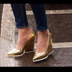 Gold celine shoes Beautiful gold style -- thick geometric heel with white detail. Can we born with jeans or formally Celine Shoes Heels