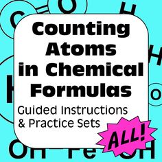 Counting atoms & elements in formulas. Self guided instructions, key words (subscript, coefficient), structural diagrams, & 4 practice worksheets with answers. Science Resources, Science Lessons, Science Education, Teaching Science, Teaching Resources, Activities, Middle School Teachers, Middle School Science, Elementary Science