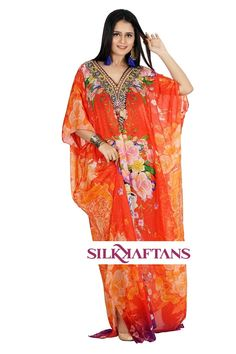 Glorious silk Kaftan brightly shining amber flowers and glittering crystal embellishment. All designs are made with sumptuous noble silk and are embellished by hand with fine crystals carefully selected for each design. Silk Kaftan, Long Kaftan, Caftan Dress, Morning Dress, Resort Wear, Beachwear, Amber, Sari, Crystals