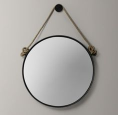 RH baby&child's Iron And Rope Mirror - Black:With its knotted jute rope and antiqued finish, our handcrafted mirror exudes the aged warmth of a vintage find.