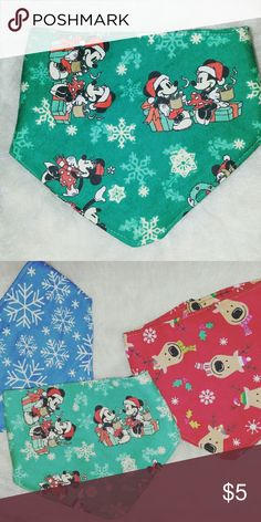 Minnie Mouse Bibdana Handmade Bibs by me. Christmas theme.. boys and girls. One size fits most.. from Newborn to toddlers..  100% cotton   Fabric is perfect for  drooling.. any questions let me know. See pictures for better description.  Bundle to save. No PP. Accessories Bibs
