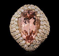 14KT Yellow Gold 10.83ct Morganite and Diamond Ring : Lot 643