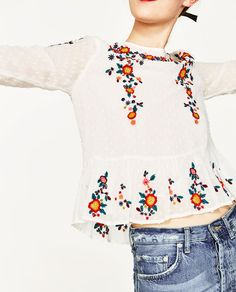 EMBROIDERED PLUMETIS BLOUSE-View All-TOPS-WOMAN   ZARA United States