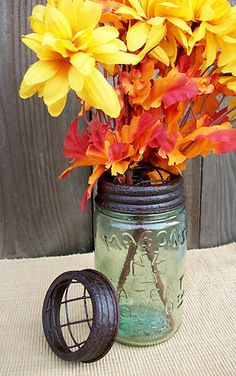 Mason/Ball Jar Flower Frog Vase Rustic Brown Lid-Primitive Country Wedding Decor