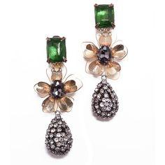 Tory Burch Emerald Stone Diamanté Tear Drop Earring ❤ liked on Polyvore