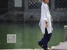 游设计  原创古典优雅新中式褶皱两穿盘扣苎麻阔腿裤小脚裤沐/雅-淘宝网