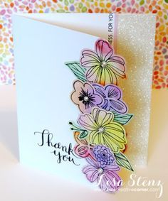 Lisa's Creative Corner:  Springtime Wishes stamp with the coordinating Thin Cuts Metal Dies, along with our watercolour paints & glitter paper