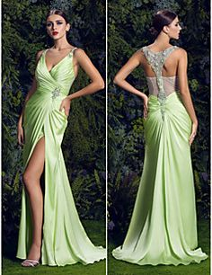 Sheath/Column V-neck Sweep/Brush Train Satin Chiffon Evening... – USD $ 319.99