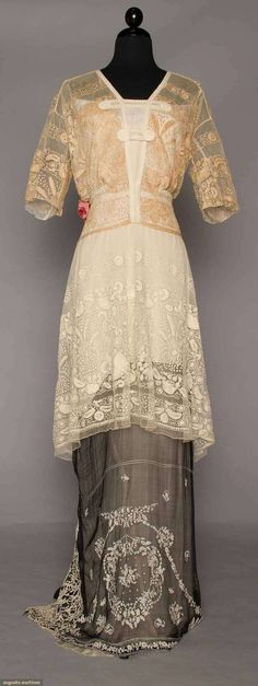 EMBROIDERED LACE EVENING GOWN, 1910-1912 | Augusta Auctions