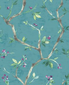 Nina Hancock Branch Trail Teal Wallpaper an elegant teal wallpaper with a beautiful floral branch design. Ideal for introducing a splash of colour to a room Oriental Wallpaper, Teal Wallpaper, Kitchen Wallpaper, Wallpaper Size, Wallpaper Samples, Blue Wallpapers, Wallpaper Roll, Flower Wallpaper, Nature Wallpaper