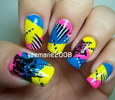 Funky Pop Star Nail Design by from Nail Art Gallery Neon Nail Art, Neon Nails, Love Nails, How To Do Nails, Pretty Nails, 80s Nails, Star Nails, Star Nail Designs, Types Of Nails