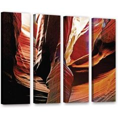 ArtWall Linda Parker Slot Canyon Light From Above 4 inch 4-Piece Gallery-wrapped Canvas Set, Size: 36 x 48, Brown
