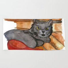 Cat in the Sauna Beach Towel