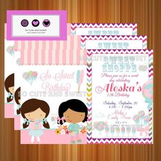 #Candy #Sweet #Shoppe #Invitation #Printable #Party by socuteandsweet, $12.00