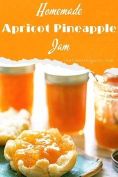 Old fashioned, homemade, apricot pineapple jam recipe is sweet and mellow with bright fruit flavors. Great on an english muffin and perfect for your PB&J sandwich! This jam is so good, you'll be enjoying it long after the apricots are gone! Jelly Recipes, Fruit Recipes, Drink Recipes, Healthy Recipes, Apricot Pineapple Jam, Homemade Sandwich Bread, Apricot Jam Recipes, Jam And Jelly, Canning Recipes
