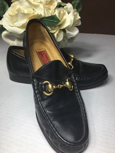 Women COLE HAAN COUNTRY Adina Black Leather Gold Horsebit Slip On Loafer Sz 7.5  | eBay