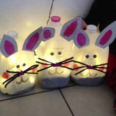 Milk Jug Bunnies for our front porch!