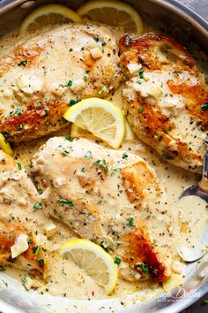 Lemon Chicken Scallopini with Lemon Garlic Cream Sauce combines two recipes into one: lemon garlic chicken AND a lemon garlic cream sauce to keep the flavours going! | https://cafedelites.com