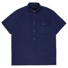Paul Smith Men's Shirts | Navy Garment-Dye Linen Short-Sleeve Popover Shirt