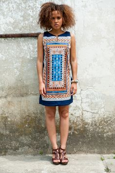 Sukienka midi Colourful Mosaic - KOKOworld - Sukienki bez ramiączek
