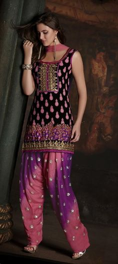 Salwar Kamez, Georgette, Embroidery, Sequence, Resham, Zari, Thread, Black and Grey, Pink and Majenta