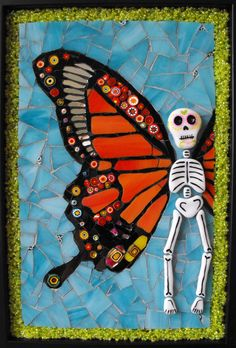 Day of the Dead Butterfly mosaic @ krakenmosaics on Etsy