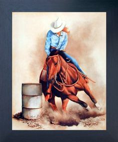 Western Rodeo Cowgirl Barrel Racer On Horse Wall Picture Black Framed Art Print