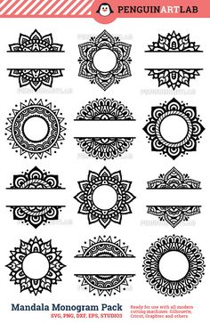 SVG Mandala Pack Svg Monogram svg and Split Mandala Cut Files for Cricut and Silhouette Manda. - SVG Mandala Pack Svg Monogram svg and Split Mandala Cut Files for Cricut and Silhouette Mandala – - Mandala Art Lesson, Mandala Drawing, Mandala Painting, Half Mandala Tattoo, Mandala Doodle, Monogram Frame, Circle Monogram, Car Monogram, Free Monogram