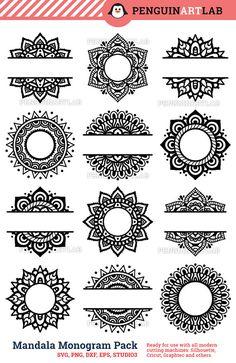 Mandala Pack Monogram and Split SVG Cut Files for by PenguinArtLab
