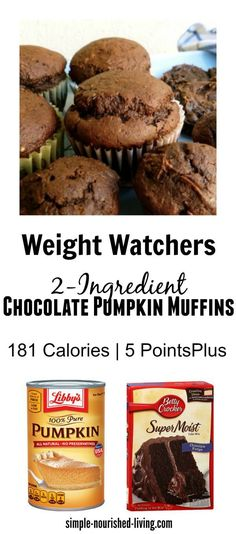 Weight Watchers 2 Ingredient Chocolate Pumpkin Muffins Recipe