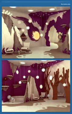 """Moominvalley"" interior by designer Maria Yasko - bat cave and iceberg lounge idea pic"