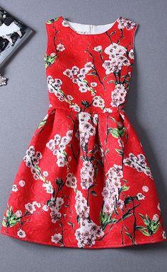 Red cherry blossom dress for Spring