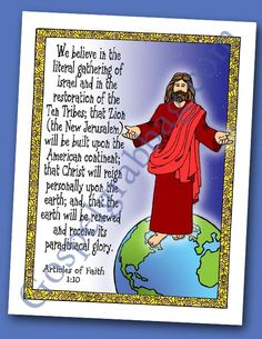 $0.75 - ARTICLE OF FAITH 1:10 - Second Coming, Millennium, Missionary Work: Scripture Poster, Articles of Faith 1:10, LDS Lesson Activity for: Primary, Youth, and Family Home Evening