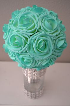 MINT Aqua Robins Egg Blue Real Touch Roses flower by KimeeKouture
