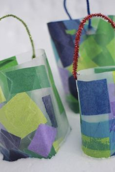 Homemade Lanterns - 2 versions: one for toddlers, one for older kids.  Crafting Connections