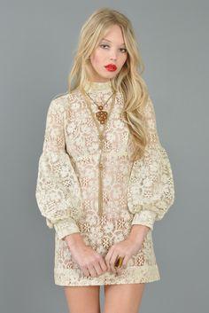 #Sheer Crocheted 1960s Bishop-Sleeved Mini Dress #clothing #new #fashion #nice www.2dayslook.com