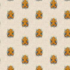 thumb_CopyOf_1623059173_Gingerbread_Man_All_Over Christmas Gingerbread Men, Christmas Elf, Cotton Linen, Printed Cotton, Cotton Fabric, Christmas Fabric, Natural Linen, Fabric Design, Blinds